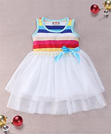 Superfie Multi Color Striped Dress - White