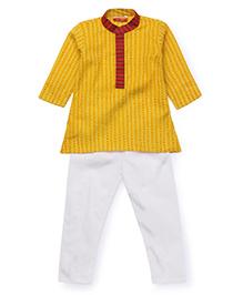 Exclusive from Jaipur Kurta Pajama Set - Yellow Cream