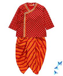 Exclusive from Jaipur Dhoti Full Sleeves Kurta And Striped Dhoti Set - Red Orange
