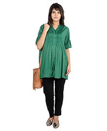 9teenAGAIN Maternity Shirt Pin Tuck Beaded - Green