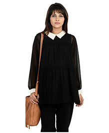 9teenAGAIN Full Sleeves Tiered Lace Edging Maternity Blouse - Black & White