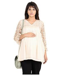 9teenAGAIN Lace Yoke & Sleeve Flared Maternity Blouse - White