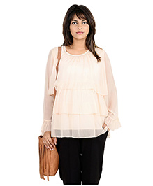 9teenAGAIN Tiered Chiffon Office Wear Maternity Blouse - Off White