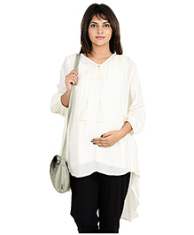 9teenAGAIN  High-low Casual Maternity Tunic  White XL Rayon