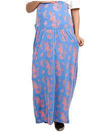 9teenAGAIN Straight Fit Comfort Maternity Skirt - Blue