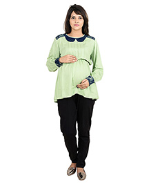 9teenAGAIN Peterpan Collar Office Wear Maternity Shirt Blouse - Green