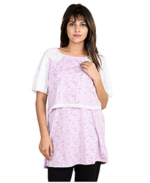 9teen Again Half Sleeves Printed Maternity Top - Purple