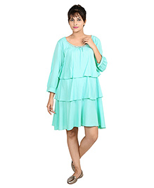 9teen Again Full Sleeves Layered Maternity Dress - Green