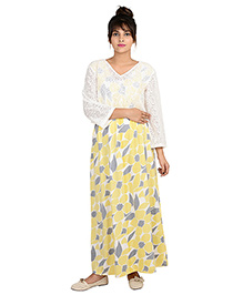 9teen Again Full Sleeves Printed Maternity Dress - Yellow White - 1283659