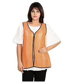 9teenAGAIN Half Sleeves Nursing Top With Lace Shrug - Orange White