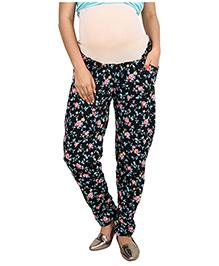 9teen Again Maternity Trouser Floral Print - Black