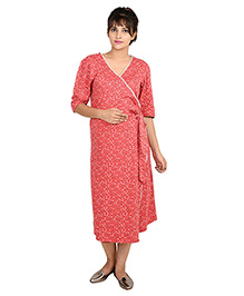 9teenAGAIN Half Sleeves Maternity Nighty Flroal Print - Red