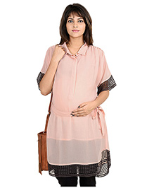9teenAGAIN Half Sleeves Maternity Tunic Lace Detailing - Peach
