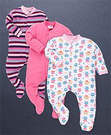 Kidi Wav Love Birds Print Sleep Suits Pack Of 3 - Pink