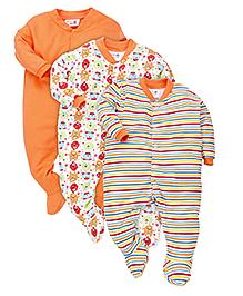 Kidi Wav Friendly Monster'S Print Sleep Suits Pack Of 3 - Orange
