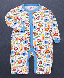 Kidi Wav 3/4Th Animal Prints Body Suits - Sky Blue