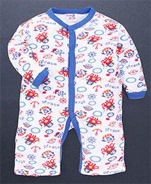 Kidi Wav 3/4Th Pirates Prints Body Suits - Royal Blue