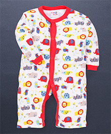 Kidi Wav 3/4Th Animal Kingdom Prints Body Suits - Red