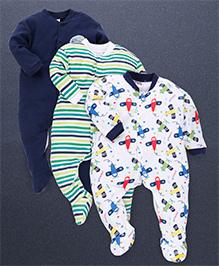 Kidi Wav Flight Print Pack Of 3 Sleep Suits - Navy Blue