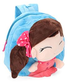 Plush School Bag Doll Design Blue - 9 Inches