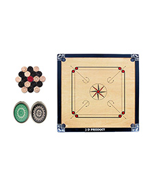 JD Sports 5 Star Full Carrom Board With Coins - Cream And Black