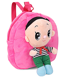 Plush School Bag With Design Pink - 10 inch