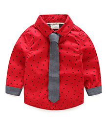 Pre Order - Mauve Collection Star Print Shirt With Tie - Red
