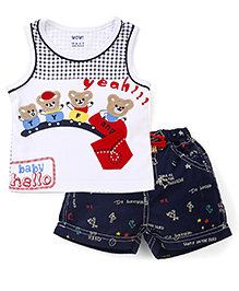 Wow Clothes Sleeveless T-Shirt And Shorts Set Teddy Patch - White Blue