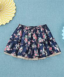 NeedyBee Floral Printed Skirt - Blue