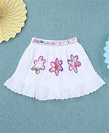 NeedyBee Frilly Skirt With Patch Work - White
