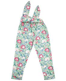 NeedyBee Floral Printed Pants With Tie Belt - Multicolor