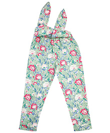 NeedyBee Floral Printed Pants With Tie Belt - Multicolor