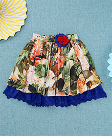 NeedyBee Floral Printed Skirt With Crochet Flower Attached - Multicolor