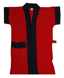 Pebbles Pebbles Half Sleeves Bathrobe - Red & Black