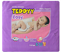 Teddyy Easy Baby Diapers Small - 48 Pieces