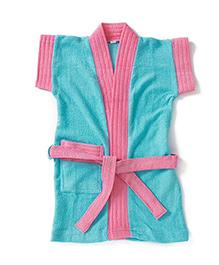 Pebbles Half Sleeves Bathrobe - Pink & Blue