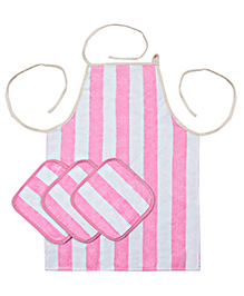 Saral Home Premium Quality Apron And Napkins Set - Pink White