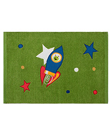 Saral Home Premium Quality Rug Rocket Design - Light Green