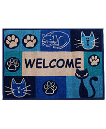 Saral Home Doormat Welcome Print - Blue