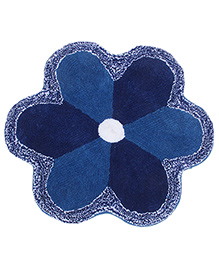 Saral Home Flower Shape Bath Mat - Blue