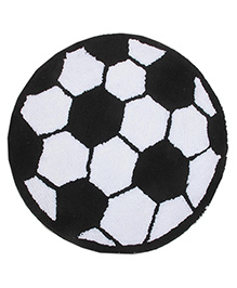 Saral Home Premium Quality Bath Mat Football Design - Black White