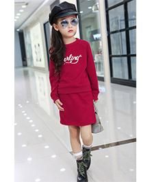 Funky Baby Darling Printed Skirt & Top Set - Red