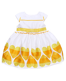 Yellow Duck Cap Sleeves Partywear Frock Heart Print - White And Lemon Yellow