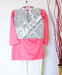Pre Order - Hickory Dickory Kurta With Newspaper Print Jacket - Pink