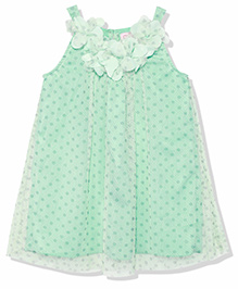 Chicabelle Flower Applique Fully Lined Polka Printed Dress - Green