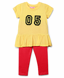 Chicabelle Peplum Top With Lycra Legging - Yellow