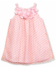 Chicabelle Flower Applique Fully Lined Polka Printed Dress - Pink