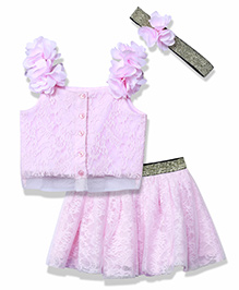 Chicabelle Lace Top & Skirt With Glitter Elastic Waist & Matching Head Band - Pink
