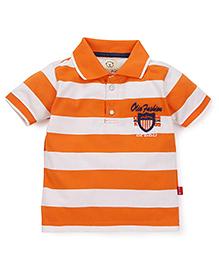 Olio Kids Half Sleeves Stripes T-Shirt - Orange White