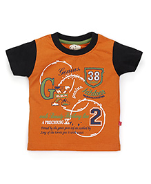 Olio Kids Half Sleeves T-Shirt Genius Print - Orange & Black
